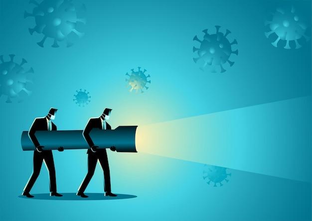 Biznes ilustracja koncepcja wektorowa przedsiębiorców posiadających gigantyczną latarkę podczas pandemii