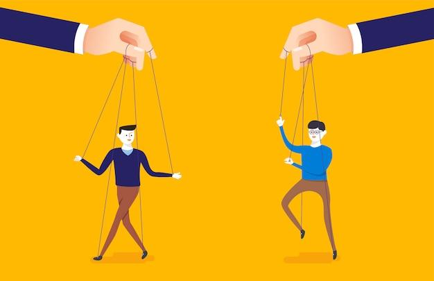 Biznes ilustracja koncepcja wielkiej ręki i biznesmen jest kontrolowany przez mistrza marionetek.