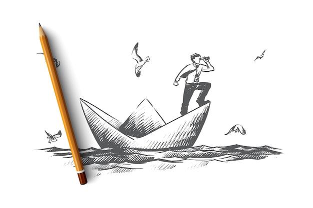 Biznes ilustracja koncepcja wizji