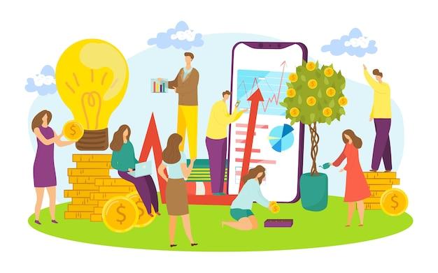 Biznes ilustracja kreatywnej pracy zespołowej. biznesmeni i bizneswoman pracuje w zespole. komunikacja, spotkania i planowanie pracy. aplikacja na smartfony z grafiką i wykresami do pracy zespołowej.