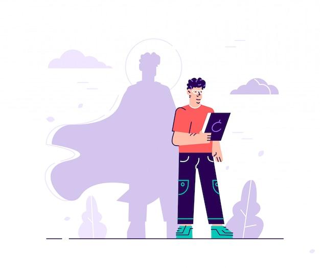 Biznes ilustracja, mężczyzna z cieniem superbohatera, symbol przywództwa motywacji ambicji. ilustracja nowoczesny projekt płaski na stronie internetowej, karty, plakat, media społecznościowe.