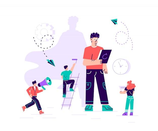 Biznes ilustracja, mężczyzna z cieniem superbohatera, symbol przywództwa motywacji ambicji. płaski nowoczesny design ilustracja na stronę internetową, karty, plakat, media społecznościowe.