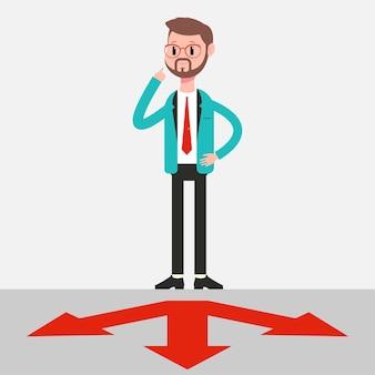 Biznes ilustracja skrzyżowania z myślącym człowiekiem.