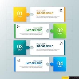 Biznes infografiki szablon z czterema krokami