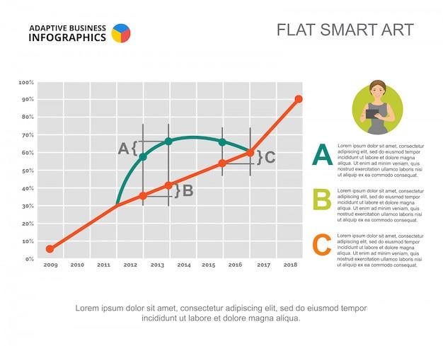 Biznes infografiki z działki scatter i ikona znaku.