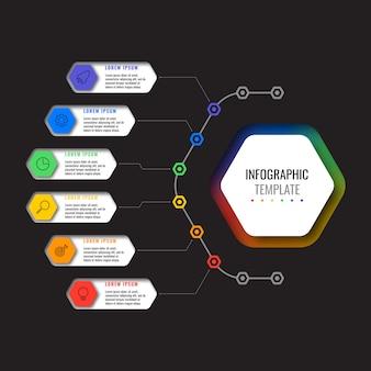 Biznes infographic szablon z sześciu realistycznych elementów sześciokątnych z ikonami cienka linia na czarnym tle.