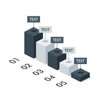 Biznes izometryczny plansza wykres szablonu układu do prezentacji. ilustracja wektorowa