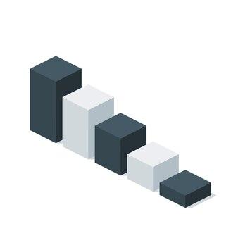 Biznes izometryczny wykres ikony szablonu układu. może być używany do infografiki, grafiki lub układu strony internetowej, diagramu, prezentacji, projektowania stron internetowych.