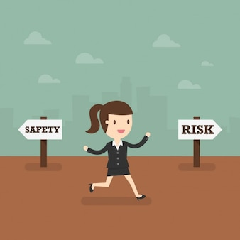 Biznes kobieta biorąc de ryzykowny sposób