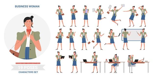 Biznes kobieta gesty robocze pozuje, stojąc i działa na białym tle