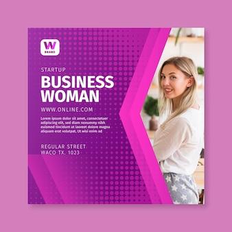 Biznes kobieta kwadratowy szablon ulotki