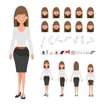 Biznes kobieta lub postać sekretarza do animacji.