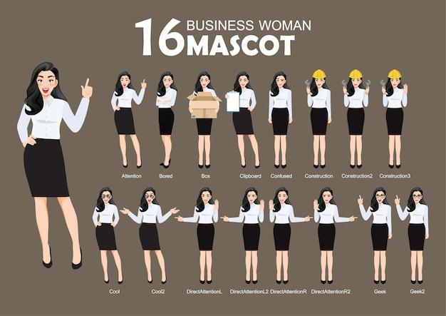 Biznes kobieta maskotka, styl postaci z kreskówek stwarza zestaw ilustracji