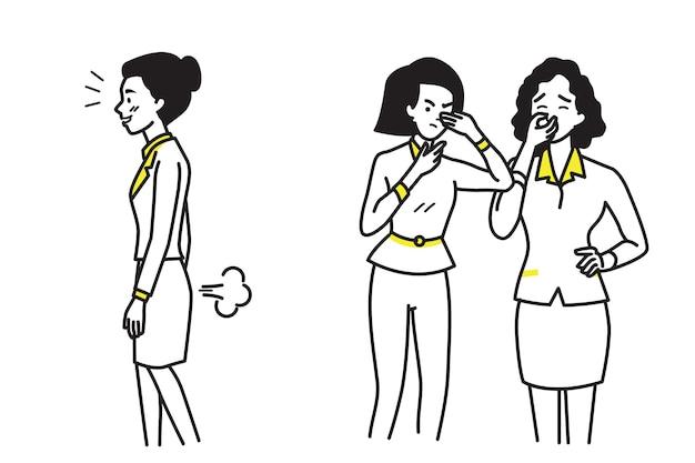 Biznes kobieta pierdzenie robi nieprzyjemny zapach i śmierdzi.