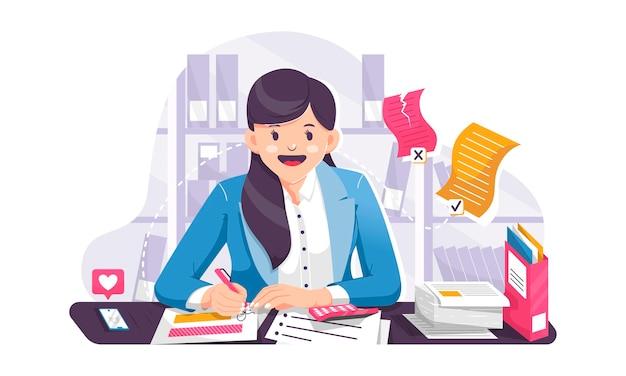 Biznes kobieta pracuje w domowym biurze płaski ilustracja projekt