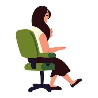 Biznes kobieta siedzi na krześle