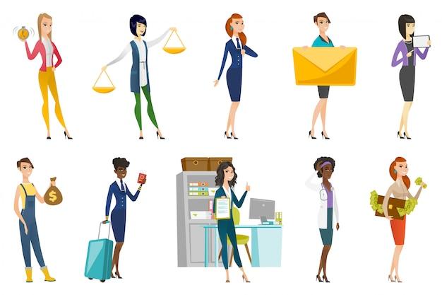 Biznes kobieta, stewardesa, lekarz zawód zestaw