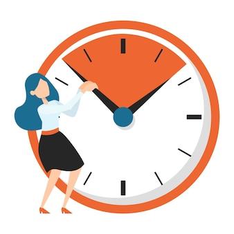 Biznes kobieta stojąca przy dużym zegarze. pomysł na termin