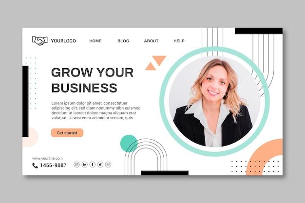 Biznes kobieta szablon strony docelowej