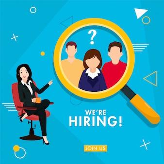 Biznes kobieta szuka pracownika utalentowanej osoby na niebiesko