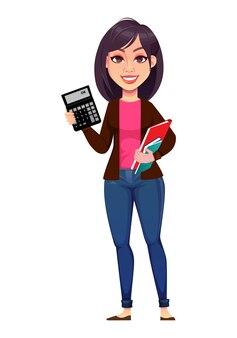 Biznes kobieta trzyma kalkulator