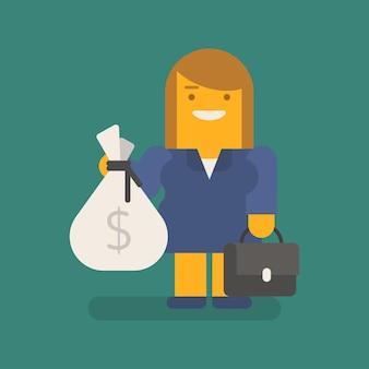 Biznes kobieta trzyma worek walizki pieniędzy i uśmiechnięty. wektor znaków. ilustracja wektorowa