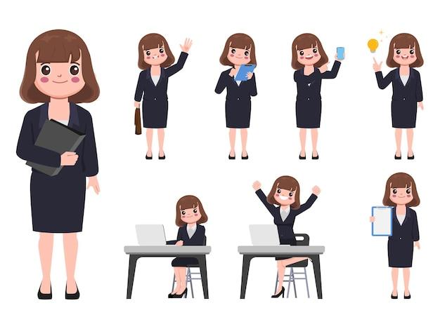 Biznes kobieta w garnitur ubrania z rutynowej pracy poza charakter