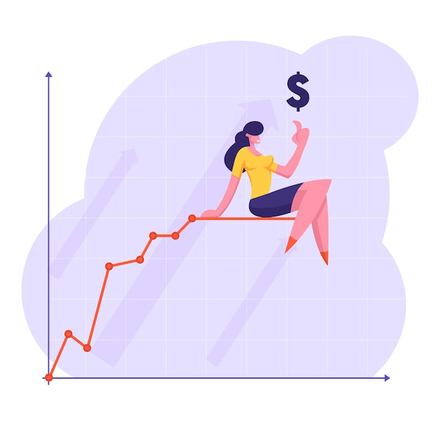 Biznes kobieta wskazując palcem na znak dolara siedzi na szczycie rośnie wykresu