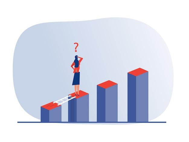 Biznes kobieta wyzwanie i rozwiązanie stojące nad dużym wykresem koncepcji wektor ilustrator