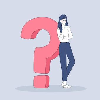 Biznes kobieta z ilustracji znak zapytania