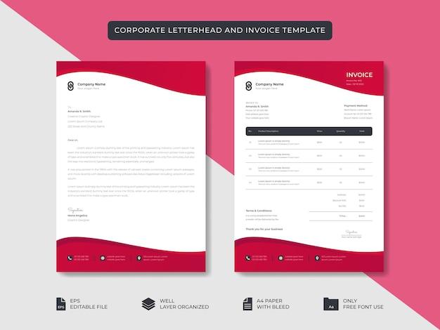 Biznes korporacyjny minimalistyczny stylowy papier firmowy i szablon faktury projekt tożsamości marki biznesowej