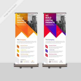 Biznes Korporacyjny Projekt Szablonu Transparent Roll Up Lub Standee Kolorowy Premium Wektorów