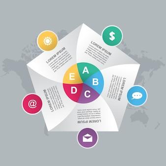 Biznes kroczy nowożytnej żaluzi cyklu mapy infographic szablon