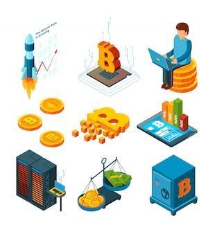 Biznes kryptowalutowy, cyfrowe uruchomienie ico w blockchain finance company globe crypto monety wydobywające izometryczny ikona