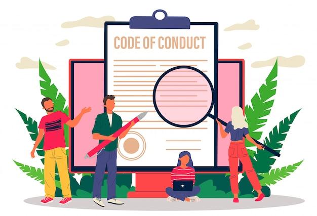 Biznes ludzi studiujących kodeks postępowania papieru