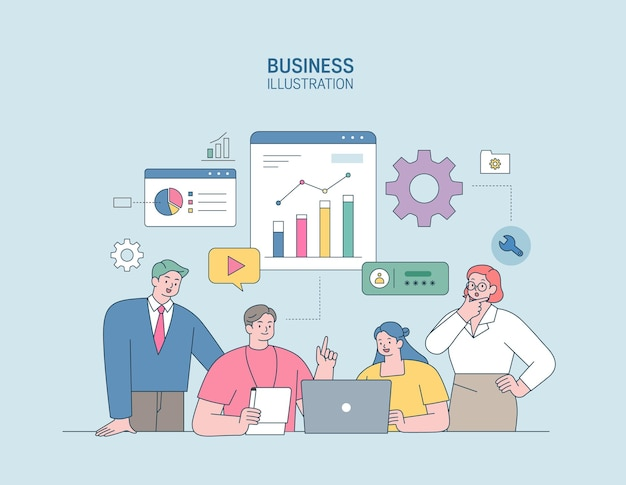 Biznes marketing ilustracja mężczyzn i kobiet zaangażowanych w biznes