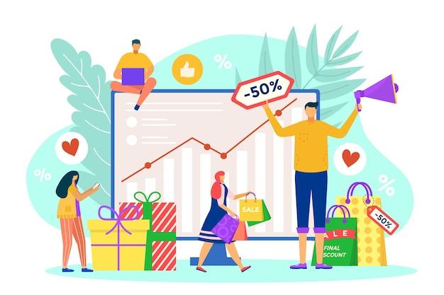 Biznes, marketing, zarządzanie, ilustracja wektorowa, ludzie, litera, blisko, analiza, wykres, promocja, pla...