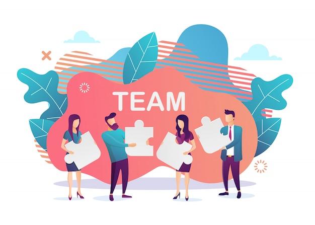 Biznes . metafora zespołu. ludzie łączący elementy układanki. płaski styl. symbol pracy zespołowej, współpracy, partnerstwa. ilustracja