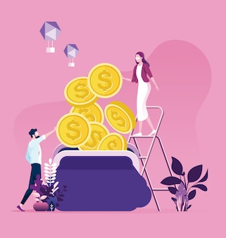 Biznes mężczyzna i kobieta próbuje zebrać pieniądze do torebki. pieniądze oszczędnościowe z pracy