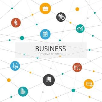 Biznes modny szablon sieci web z prostymi ikonami. zawiera takie elementy jak biznesmen, teczka, kalendarz, wykres