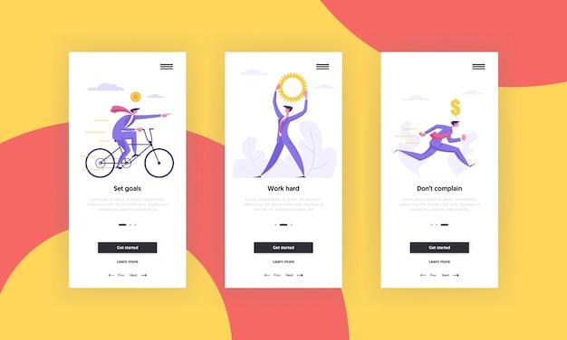Biznes motywacja koncepcja aplikacji mobilnej ekran zestaw ilustracji