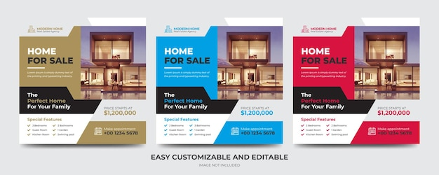 Biznes nieruchomości w mediach społecznościowych post banner i kwadratowy szablon ulotki