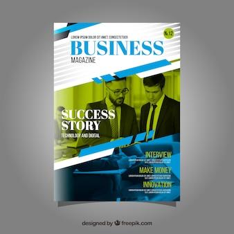Biznes okładka magazynu szablon z modelu pozowanie