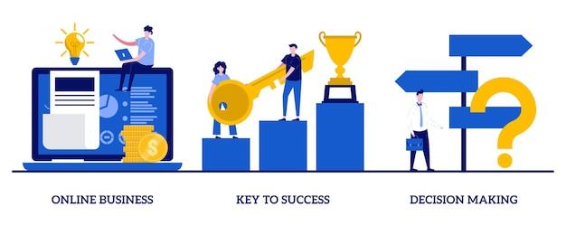 Biznes online, klucz do sukcesu, koncepcja podejmowania decyzji z małymi ludźmi