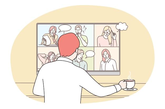Biznes, online, seo, konferencja, spotkanie, koncepcja komunikacji. urzędnik menedżera biznesmena komunikujący się z kolegami pracowników online. zdalna burza mózgów na temat covid19 quatantine.