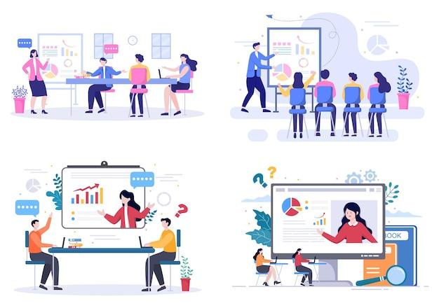 Biznes online szkolenia, seminaria lub kursy tło wektor ilustracja. mentor doing prezentacja na temat marketingu, sprzedaży, raportów i e-commerce