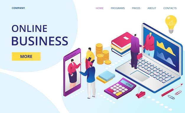 Biznes online w internecie, strona internetowa biura cyfrowego, strona docelowa
