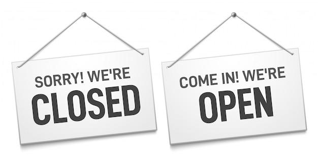 Biznes otwarty znak zamknięty, sklepowe tablice na drzwi, wejdź i przepraszam, że jesteśmy zamknięci na zewnątrz szyld na białym tle