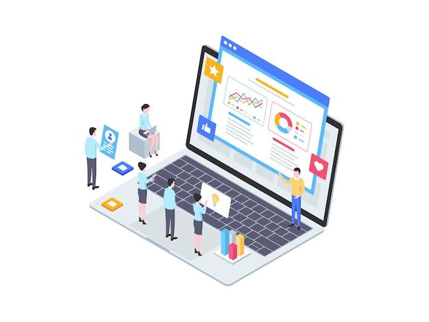 Biznes pitching izometryczny ilustracja. nadaje się do aplikacji mobilnych, stron internetowych, banerów, diagramów, infografik i innych zasobów graficznych.