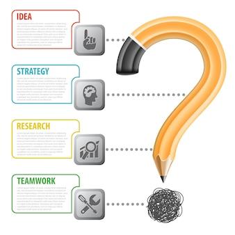 Biznes plakat z ołówkiem i cztery kroki do wykonania pracy, ikona, znak zapytania i infografika, wektor na białym tle